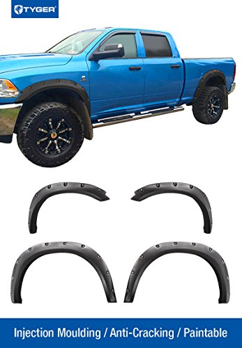 Tyger Auto TG-FF8D4148 For 2009-2017 Dodge Ram 1500 (Fleetside Models ONLY) NOT For R/T Models | Paintable Smooth Matte Black Pocket Bolt-Riveted Style Fender Flare Set, 4 Piece
