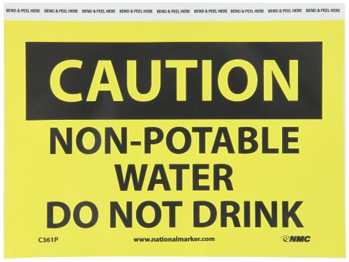 "NMC C361P OSHA Sign, Legend ""CAUTION - NON POTABLE WATER DO NOT DRINK"", 10"" Length x 7"" Height, Pressure Sensitive Adhesive Vinyl, Black on Yellow"