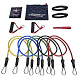DEAL PRICE - NUMBER 1 RATED - Resistance Bands - 11pc Set - With Door Anchor & Ankle Strap for Legs Workout & Carry Case - Heavy Duty Anti-Snap Technology - Bonus 20 Fat Burning Workouts Ebook