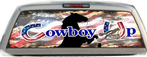 (Cowboy Up- American Flag- 17 Inches-by-56 Inches- Compact Pickup Truck- Rear Window Graphics)