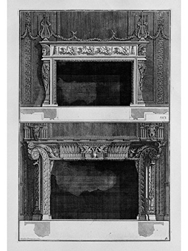 Two fireplaces superimposed with The Support 4 in The Chariot Race in The Circus, The inf with 2 Swans That Drink in a vase by Giovanni Battista Piranesi