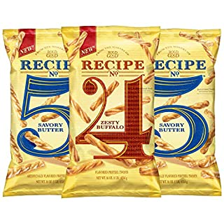 Rold Gold Flavored Pretzel Sticks, Recipe No. 4 Zesty Buffalo & Recipe No. 5 Savory Butter Variety Pack, 1lb Bags (3 Pack)