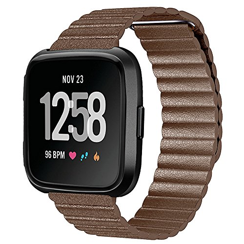 (Huangou for Fitbit Versa Watch Wrist Straps,Accessory Replacement Leather Magnetic Loop Bracelet Sport Watch Band Strap for Fitbit Versa Watch (Free, Brown))