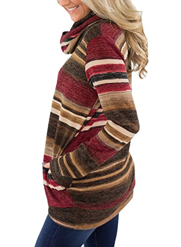 Asvivid Womens Cowl Neck Color Block Striped Tunic Sweatshirt Drawstring Cotton Pullover Tops Pocket S Red by Asvivid (Image #1)
