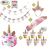 Unicorn Birthday Party Supplies Unicorn Cake Topper Unicorn Headband 24 Pack Unicorn Cupcake Toppers Unicorn Birthday Banner and Pink Satin Sash Unicorn Party Favors and Decorations