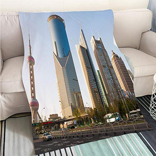(Luxury Super Soft Blanket Shanghai Oriental Pearl and Skyscrapers Perfect for Couch Sofa or Bed Cool Quilt)