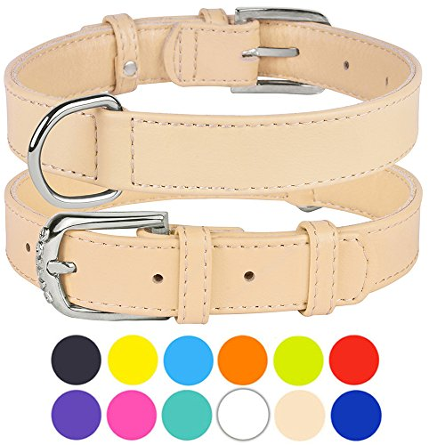 - CollarDirect Genuine Leather Dog Collar 12 Colors, Soft Padded Collars for Puppy Small Medium Large, Mint Green Black Pink White Red Blue Purple (Beige, Size L Neck Fit 16