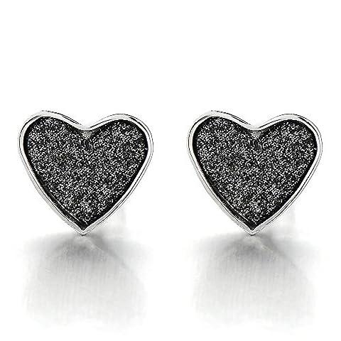 Pair Heart Stud Earrings Stainless Steel with Black Sand Glitter, Screw Back