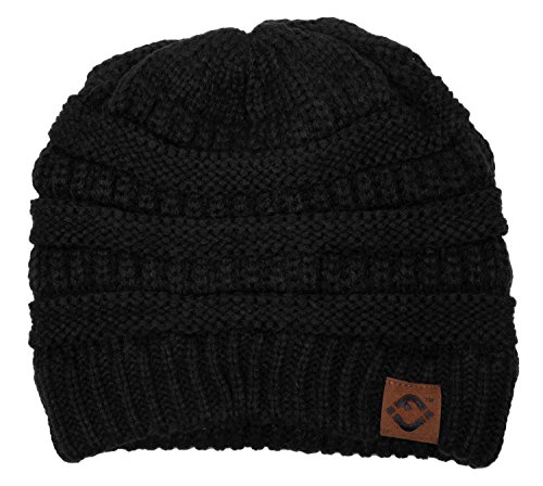 F1-6020a.06 Solid Color Beanie - Black (Beanie Womens Solid)