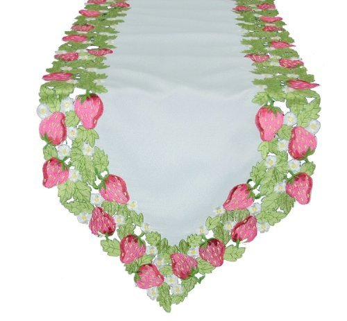 Xia Home Fashions Strawberry Patch Embroidered Cutwork Table Runner Collection, 15 by 72-Inch by Xia Home Fashions