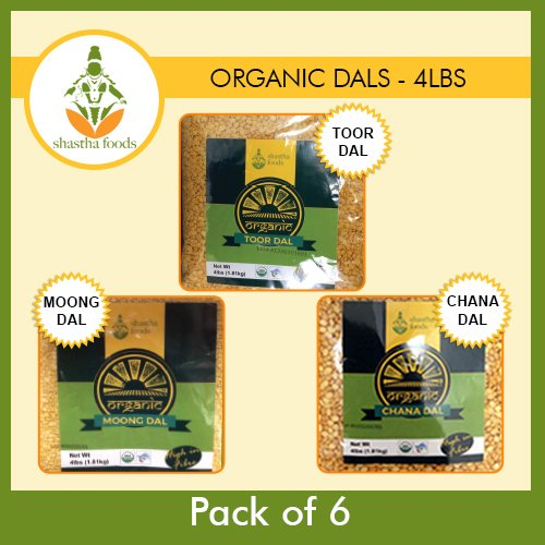 Shastha Organic Dal (Combo Pack of 6) Chana, Toor & Moong Dal - Each Pkt 4 Lbs (USDA - Certified Organic) by Shastha Foods