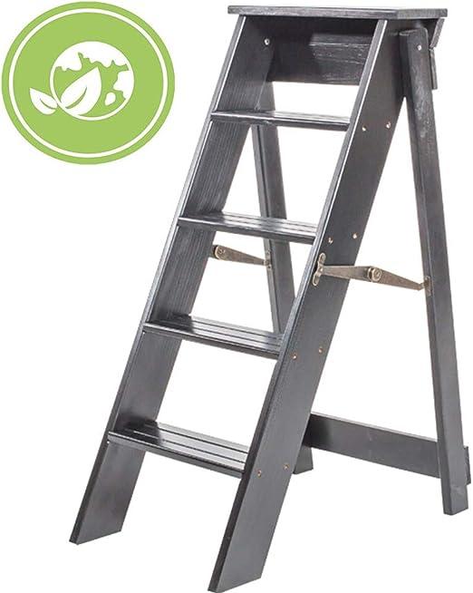 KEKET1 Escalera Doméstica Escalera Plegable En Espiga De Madera Maciza Multifunción Pasos Ascendentes 3 Colores Escalera Interior Alta De 87 Cm,DeepWalnutColor: Amazon.es: Hogar