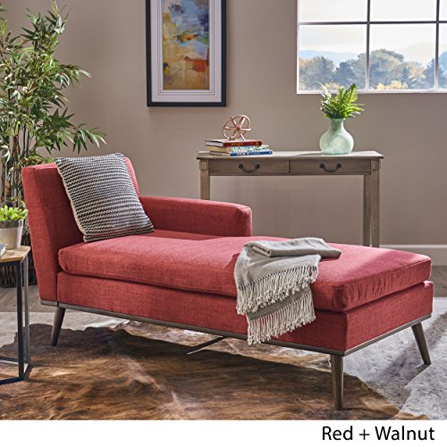 Great Deal Furniture 304048 Sophia Mid Century Modern Red Fabric Chaise Lounge, Walnut