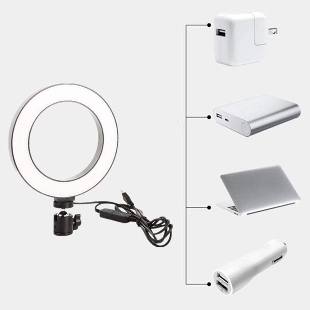 stonishi LED Ring Light 6//8 LED Selfie Ring Light LED Swing Arm Desk Lamp with Clamp Dimmable Beauty Ringlight with Gimbal for Live Stream//Makeup//YouTube Video Beauty Manicure Salon