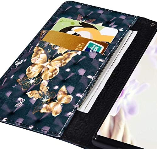 Herbests Kompatibel mit Huawei Mate 30 Pro Hülle Klapphülle Leder Flip Schutzhülle Wallet Handyhülle Bunt Bling Glänzend Glitzer Muster Brieftasche Handytasche Case,Schmetterlinge