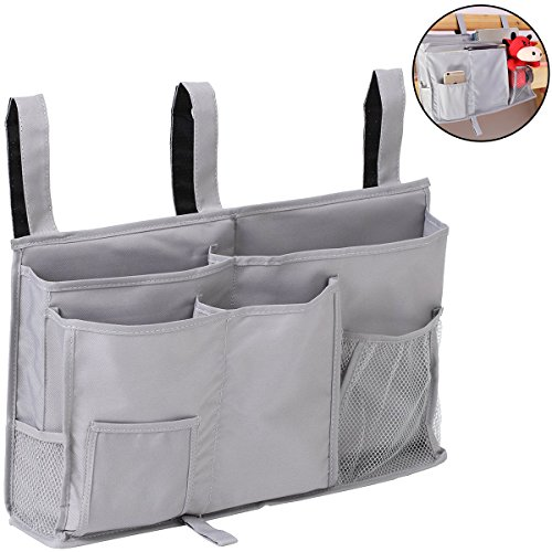 aiduy bedside caddy, hanging storage bag holder beside organizer with 8 pockets for bunk dorm rooms and hospital bed rails, grey