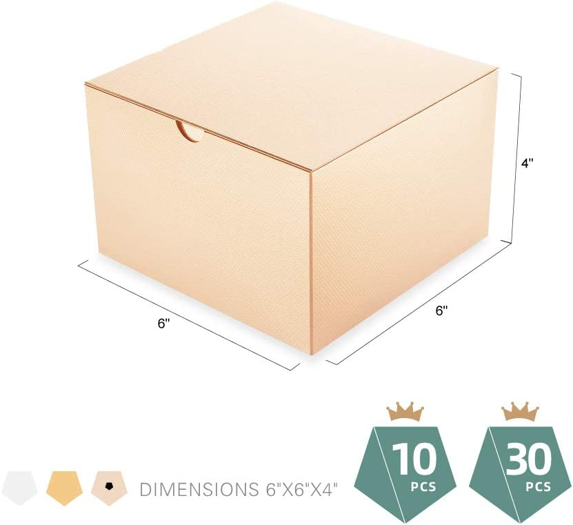 Glossy Rose Gold Cupcake Boxes Paper Gift Boxes for Light Weight Gifts Champagne Gold Gift Boxes with Lids Textured Finish PACKQUEEN 30 Gift Boxes 6x6x4 Inches