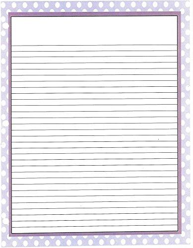 Purple Polka Dot 3 Hole Loose Leaf Paper 50 Sheets