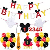 Mickey Mouse Happy Birthday Banner Decorations Kit, Mickey Mouse Banner Tie Hat for Baby Birthday