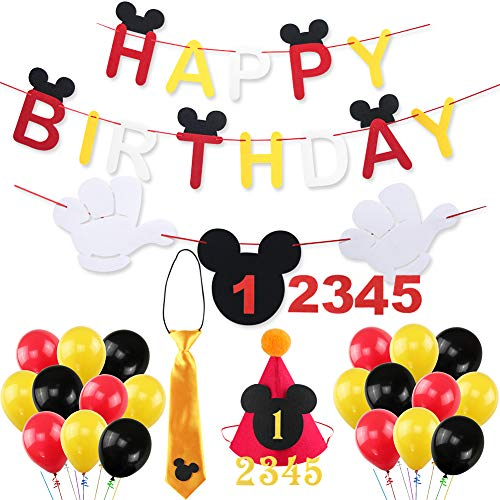 Mickey Mouse Happy Birthday Banner Decorations Kit, Mickey Mouse Banner Tie Hat for Baby Birthday Party Mickey Mouse Theme Party Supplies -