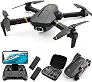 4DRC V4 Foldable Drone with 1080p HD Camera for Adults and Kids, Quadcopter with Wide Angle FPV Live Video, Tr