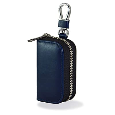 Keys and Car Key Fob Faraday Blocking Organizer Bag with Die-Casting Aluminium Strong Hook and Zipper Vehicle Fob FRID Blocker Luxury Blue PU Leather Holder Box: Automotive