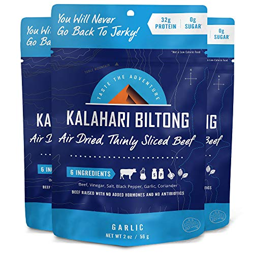 Kalahari Biltong | Air-Dried Thinly Sliced Beef | Garlic | 2oz (Pack of 3) | Zero Sugar | Keto & Paleo | Gluten Free | Better than Jerky