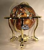 14'' Tall Amber Pearl Gold Stand Gem Gemstone World Map Globe Globes Maps