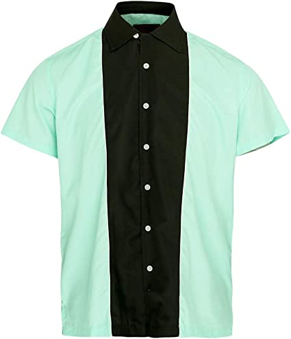 Neon Lounge Camisa de Bolos Hombre retroamericana Rockabilly