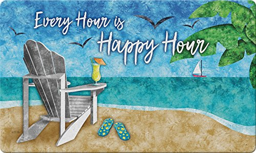 Toland Home Garden Happy Hour Beach 18 x 30 Inch Decorative Tropical Floor Mat Cocktail Doormat (Beach Patio Themed)