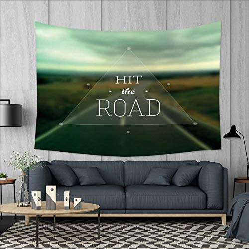 Highway Triangle (smallbeefly Adventure Wall Tapestry Hit The Road Quote Inside a Transparent Triangle with Blurred Highway Background Home Decorations for Living Room Bedroom 80