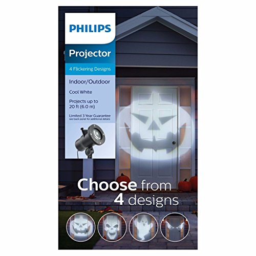 Seasonal Specialties LLC Philips Cool White LED Halloween Flickering Spotlight Projector with 4 Slides - Pumpkin, Skull, Ghost and Spooky -