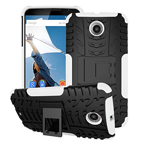 rooCASE Nexus 6 Case - rooCASE [TRAC Armor] Hybrid Nexus 6 2014 Dual Layer Rugged Case Cover with Kickstand rooCASE for Google Nexus 6 Phone 5.9-inch (2014), White