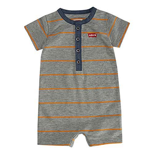 Levi's Baby Boys Short Sleeve Romper, Apricot Henley, 18M