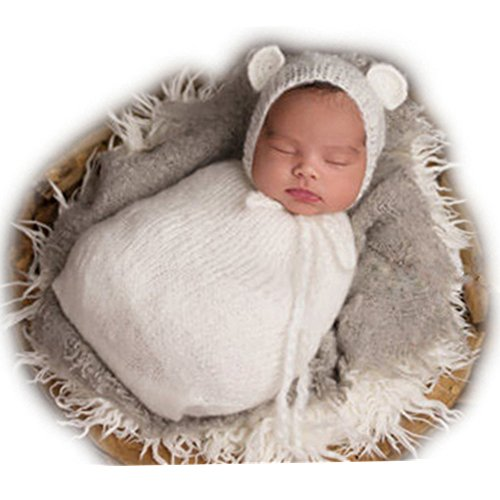 Handmade Baby Hats - Auberllus Handmade Infant Newborn Baby Girl Boy Crochet Knit Sleeping Bag Hat Photography Props Outfits Costume (White)