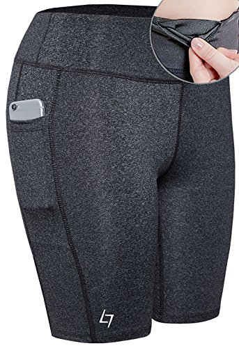 - FITTIN Women's Active Fitness Pocket Sports Shorts - Yoga Running Activewear Workout Gym Running Leggings Dark Gray XL