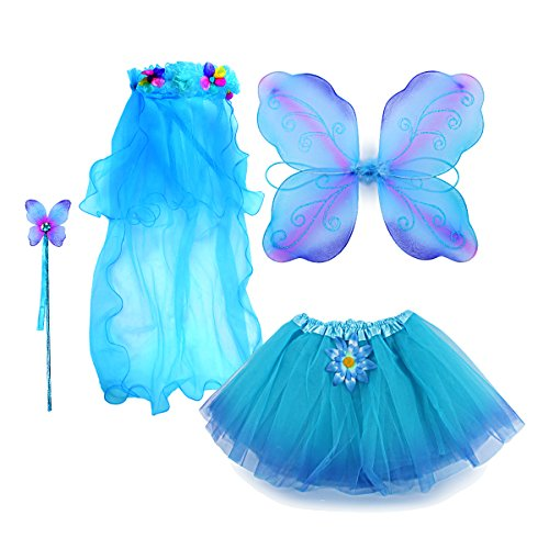 fedio 4Pcs Girls Princess Fairy Costume Set With Wings, Tutu, Wand and Floral Wreath Veil For children Ages 3-6 (Multicolor-Blue) (Three Girl Costumes)