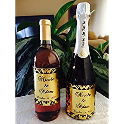 12 GOLD FOIL DAMASK Themed Champagne or Wine bottle labels/stickers/wrappers Personalized for WEDDING or party FAVORS, self adhesive and unique!