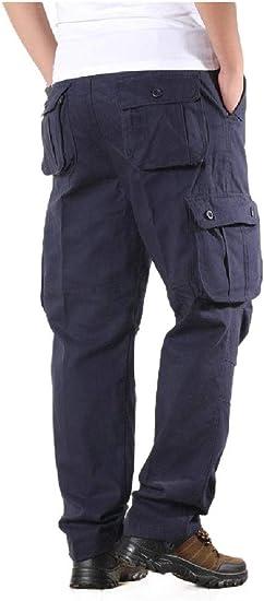 VITryst Men's Pockets Straight Leg Outwear Long Pants Wide Leg Pants