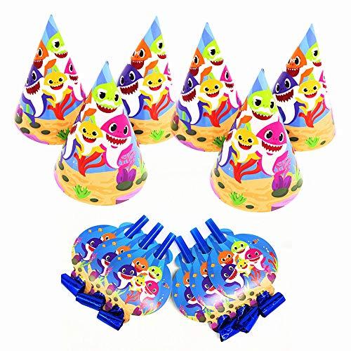 Shark Party Supplies Set,Shark Party Hat,Shark Blowouts,Shark Baby Birthday ()