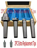 MT2 Live Center Wood Lathe Drive Spur Cup 4pcs Set With 2Pcs Extra Replacement Tips With Good Quality Wooden Box
