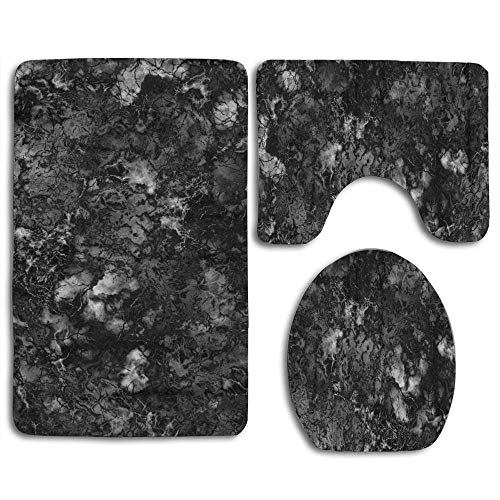 - EnmindonglJHO Gray Granite Marble Black and White Rock Polished 3pcs Set Rugs Skidproof Toilet Seat Cover Bath Mat Lid Cover Cushions Pads