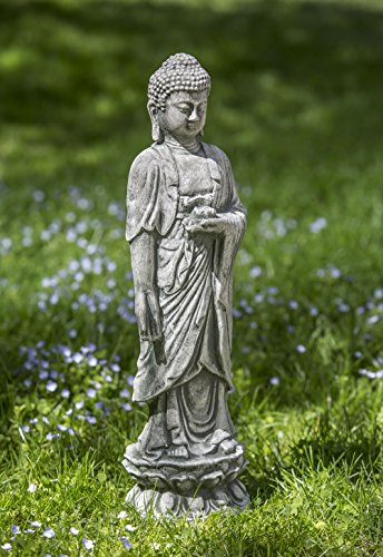 Campania International OR-133-AS Standing Lotus Buddha Statuary, Alpine Stone Finish