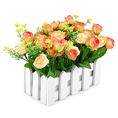 Louis Garden Artificial Flowers Fake Rose in Picket Fence Pot Pack - Small Potted Plant (Yellow-Orange)