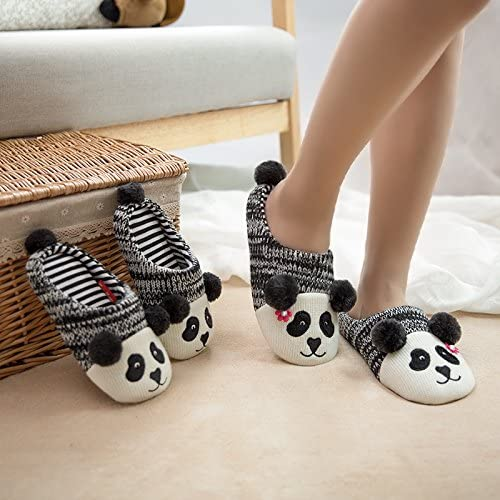 Black Colias Wing Cute Panda Warm Winter Indoor Outdoor Slippers for Little Kid