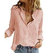 HOTAPEI Blouses for Women Casual V Neck Solid Color Womens Long Sleeve Button Down Tops Chiffon S...