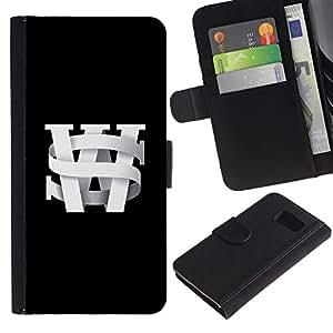 KingStore / Leather Etui en cuir / Samsung Galaxy S6 / Lettrines noir Université Texte noir