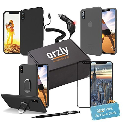 Orzly iPhone X Accessories, iPhone X Case and Accessory Bundle Pack (includes: Car Charger, Tempered Glass Screen Protector, Stylus Pen, and multiple styles of Phone Cases for iPhone X) - BLACK (Orzly Slim Rim Case)
