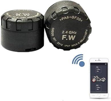 Kabelloses Reifendruckkontrollsystem Für Motorräder Mit 2 Sensoren Motorräder Bluetooth Echtzeitdruck Temperatur Alarm Sorgen Für Sicheres Fahren Auto