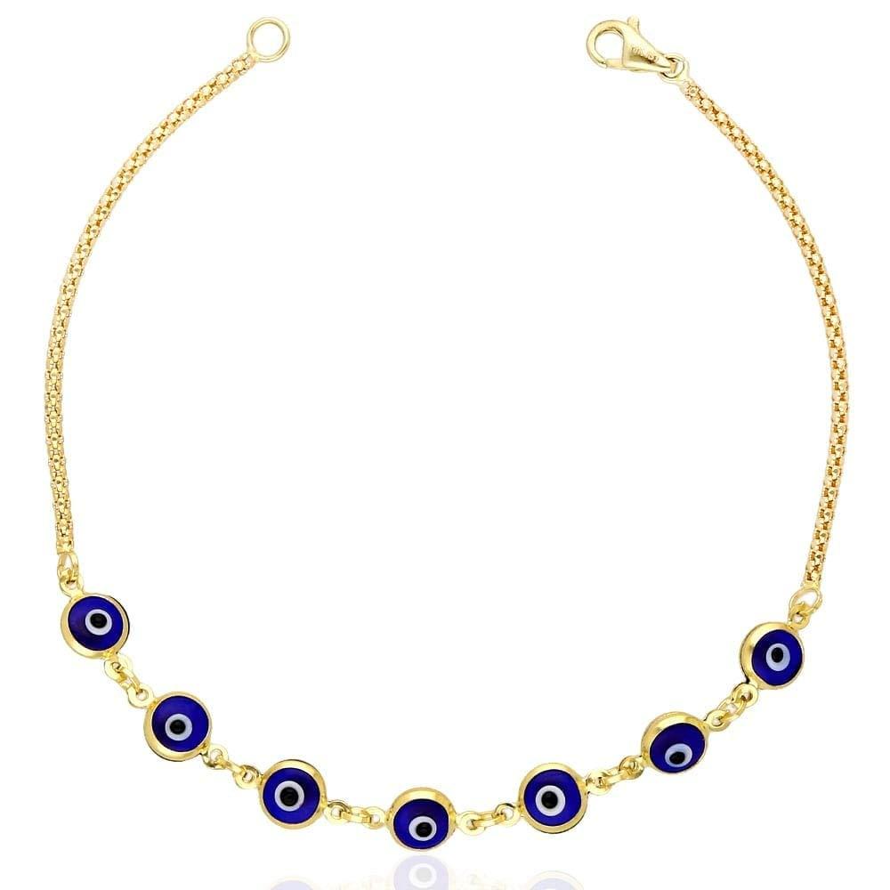 14k Yellow Gold Bezel Evil Eye Popcorn Bracelet 7'', Blue